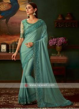 Sea green shimmer chiffon saree