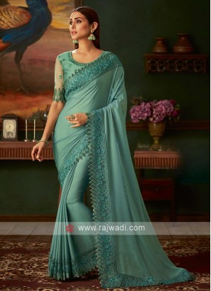 Sea green shimmer chiffon saree
