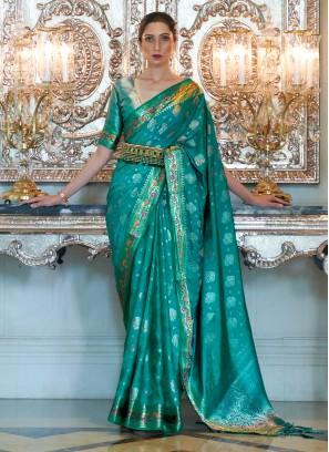 Sea Green Silk Weaving Trendy Saree
