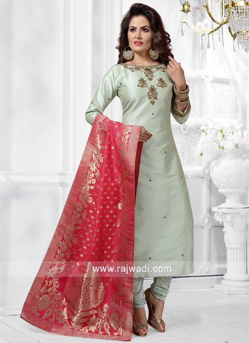 Sea Green Stitched Salwar Suit