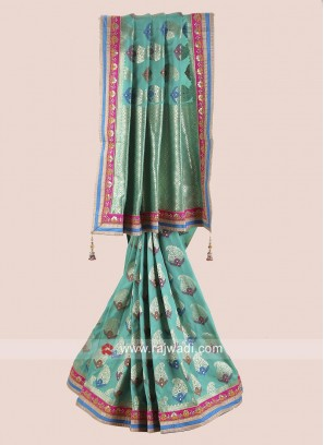 Sea Green Stone Work Saree