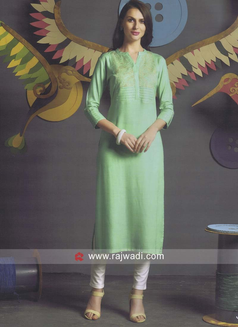 Sea Green Straight Fit Kurti