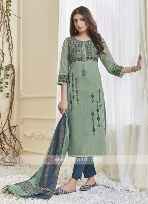 Shagufta Sea Green & Teal Pant Salwar Suit