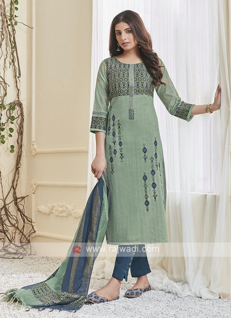 Shagufta Sea Green & Teal Pant Salwar Suit