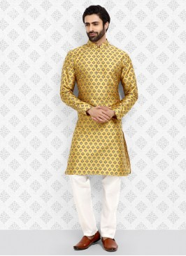 Self Printed Yellow And White Color Art Silk Kurta Pajama