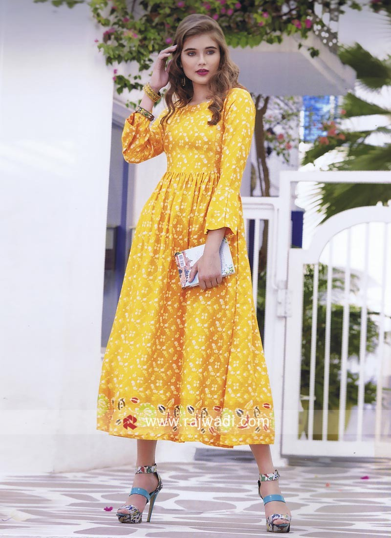 Semi Anarkali Multi Printed Kurti