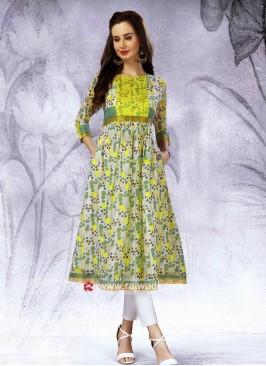 Semi Anarkali Flower Print Kurti