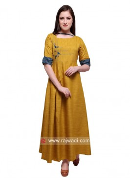 Semi Anarkali Rayon Kurti in Mustard Yellow