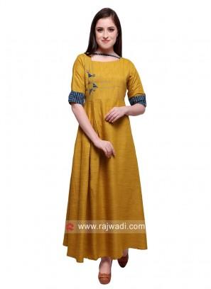 Semi Anarkali Rayon Kurti in Mustard Yellow