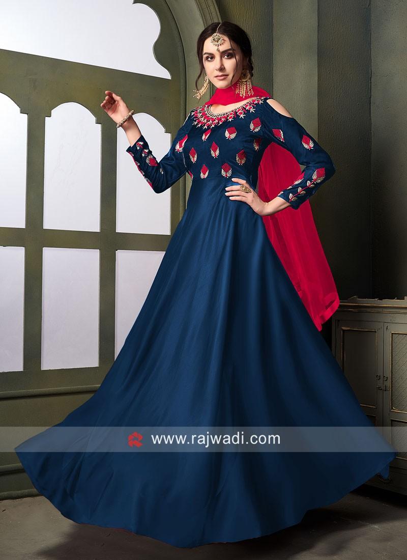 Semi Stitched Anarkali Suit with Dupatta