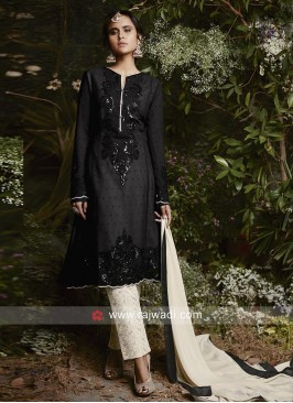 Semi Stitched Black Salwar Kameez