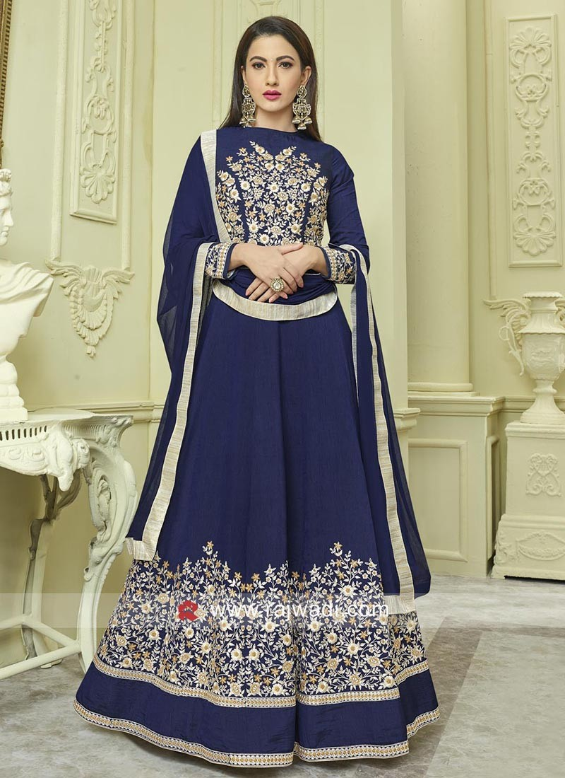Semi Stitched Blue Eid Salwar Kameez