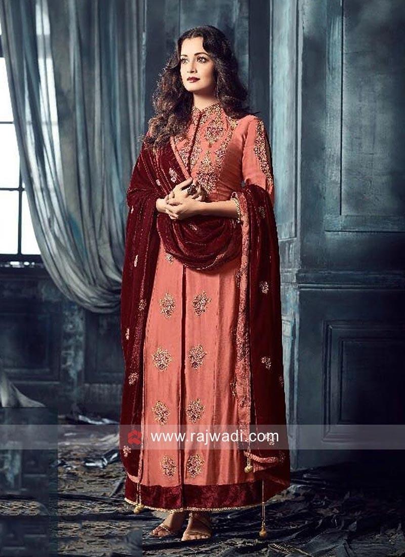 Semi Stitched Dia Mirza Abaya Style Salwar Suit