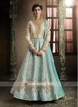 Semi Stitched Embroidered Salwar Suit