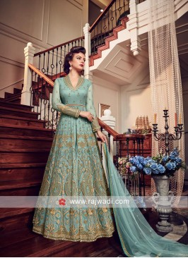 Semi Stitched Festive Suit in Sea Green