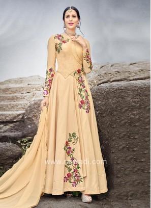 Semi Stitched Flower Work Anarkali with Dupatta