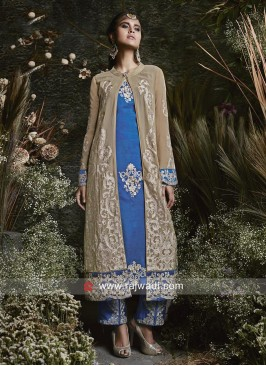Semi Stitched Front Open Slit Salwar Suit