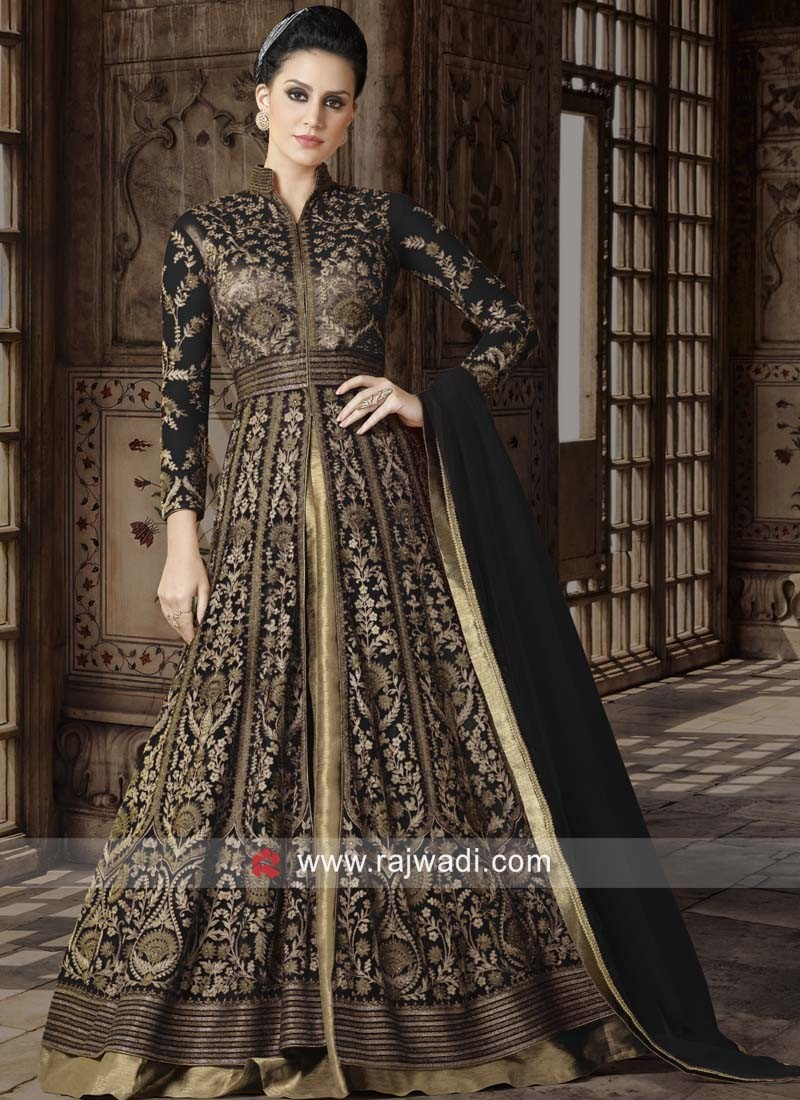 Semi Stitched Heavy Salwar Suit in Black