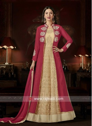 Semi Stitched Jacket Style Salwar Suit