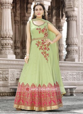 Semi Stitched Light Green Salwar Kameez