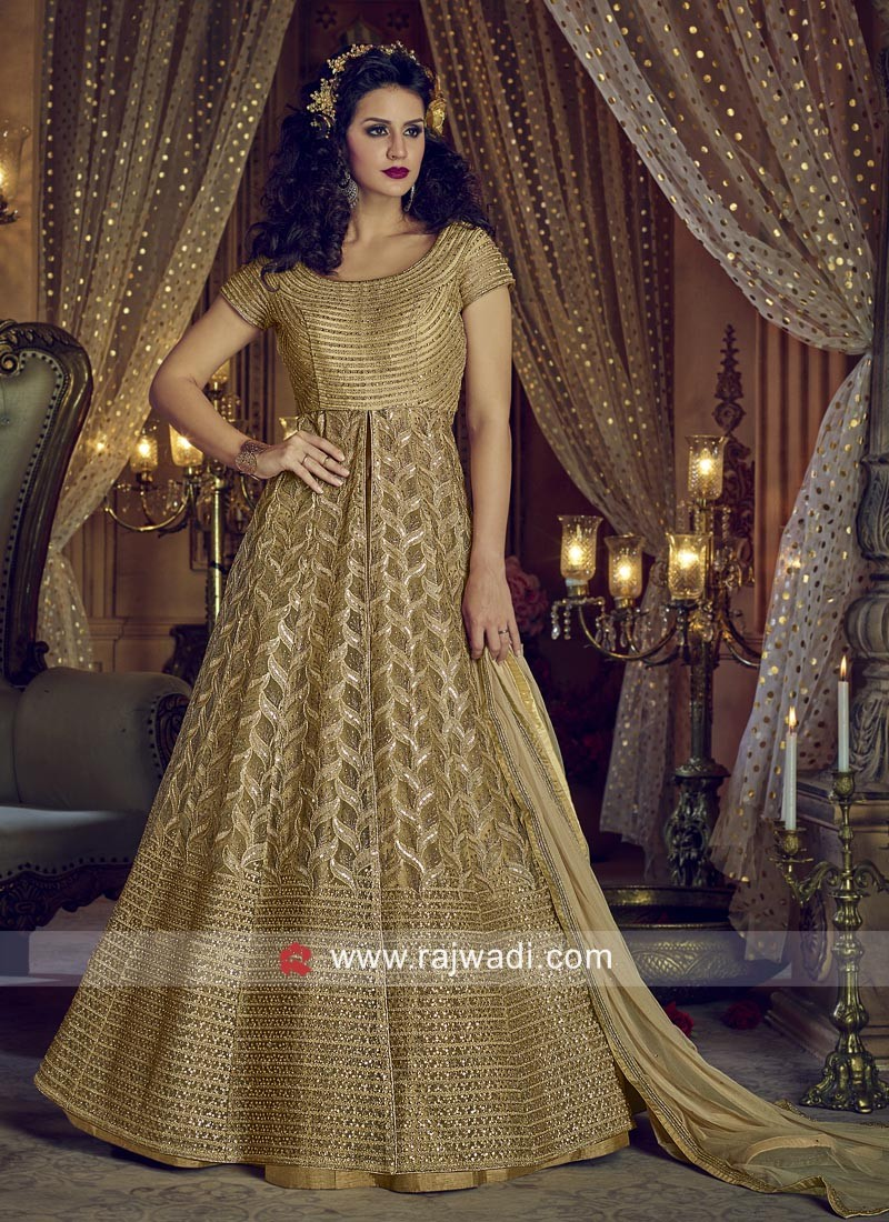 Semi Stitched Net Salwar Suit