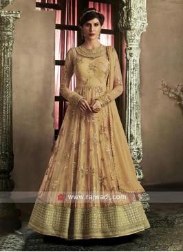Semi Stitched Orange Salwar Kameez