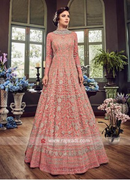 Semi Stitched Pink Net Salwar Suit
