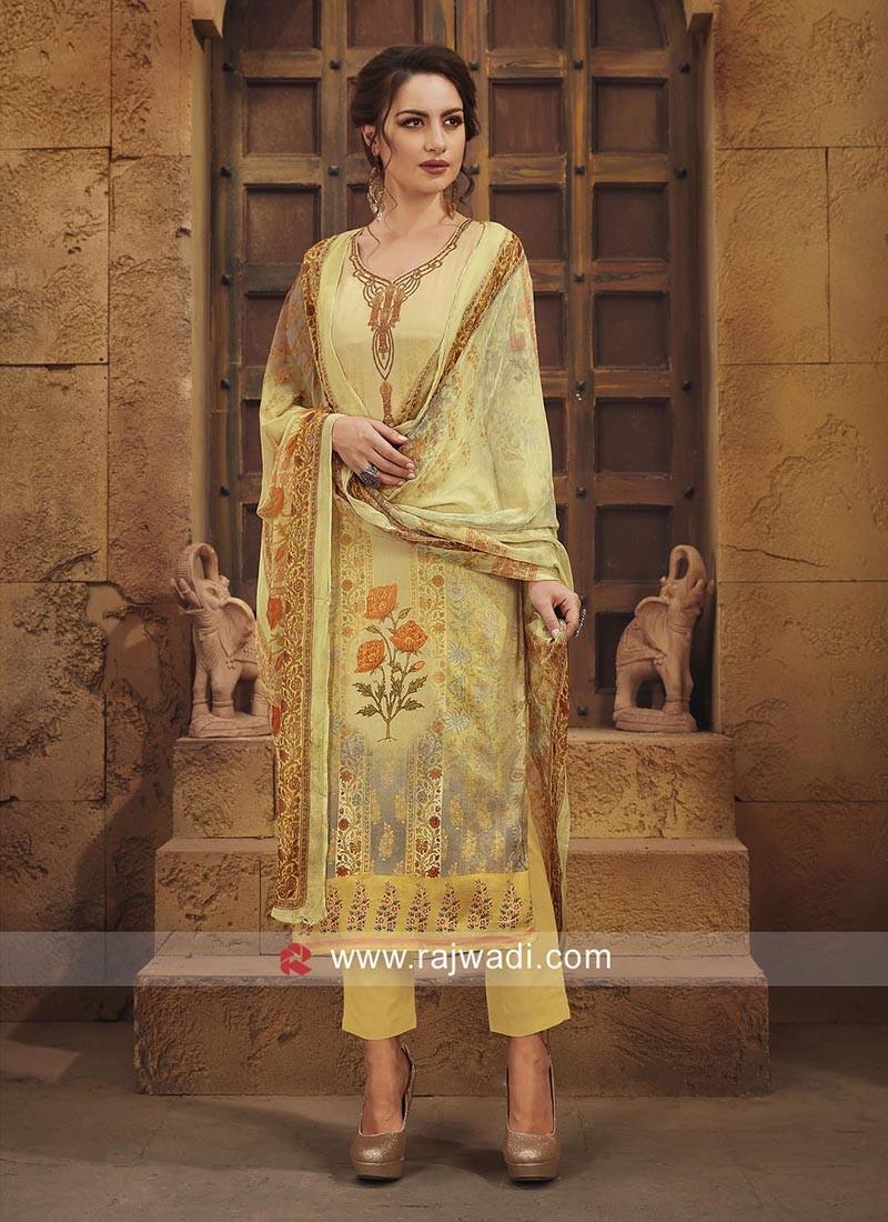 Semi Stitched Printed Salwar Suit