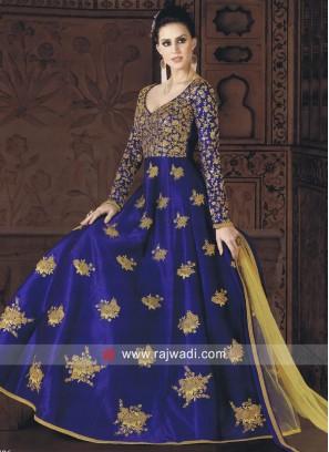 Semi Stitched Royal Blue Salwar Kameez
