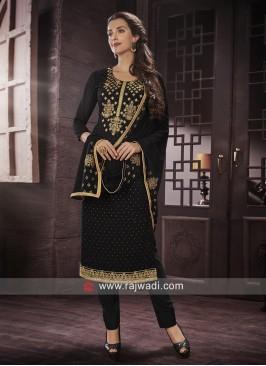 Semi Stitched Salwar Suit in Black