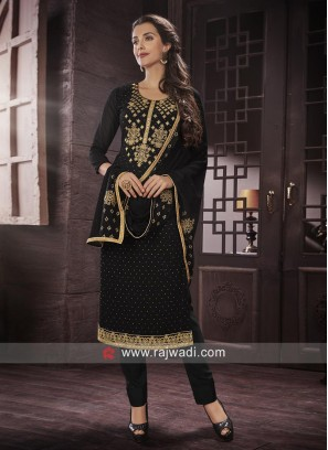 Semi Stitched Salwar Suit in Black