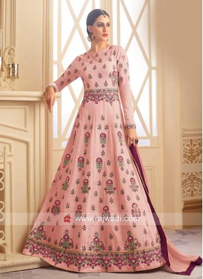 Semi Stitched Salwar Suit in Light Pink