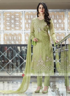 Semi Stitched Sea Green Salwar Kameez