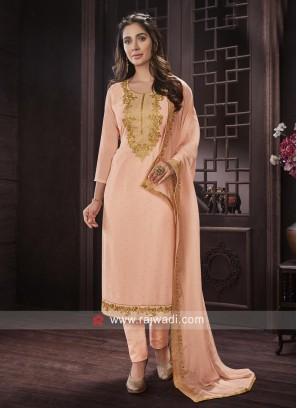 Semi Stitched Stone and Resham Work Salwar Suit