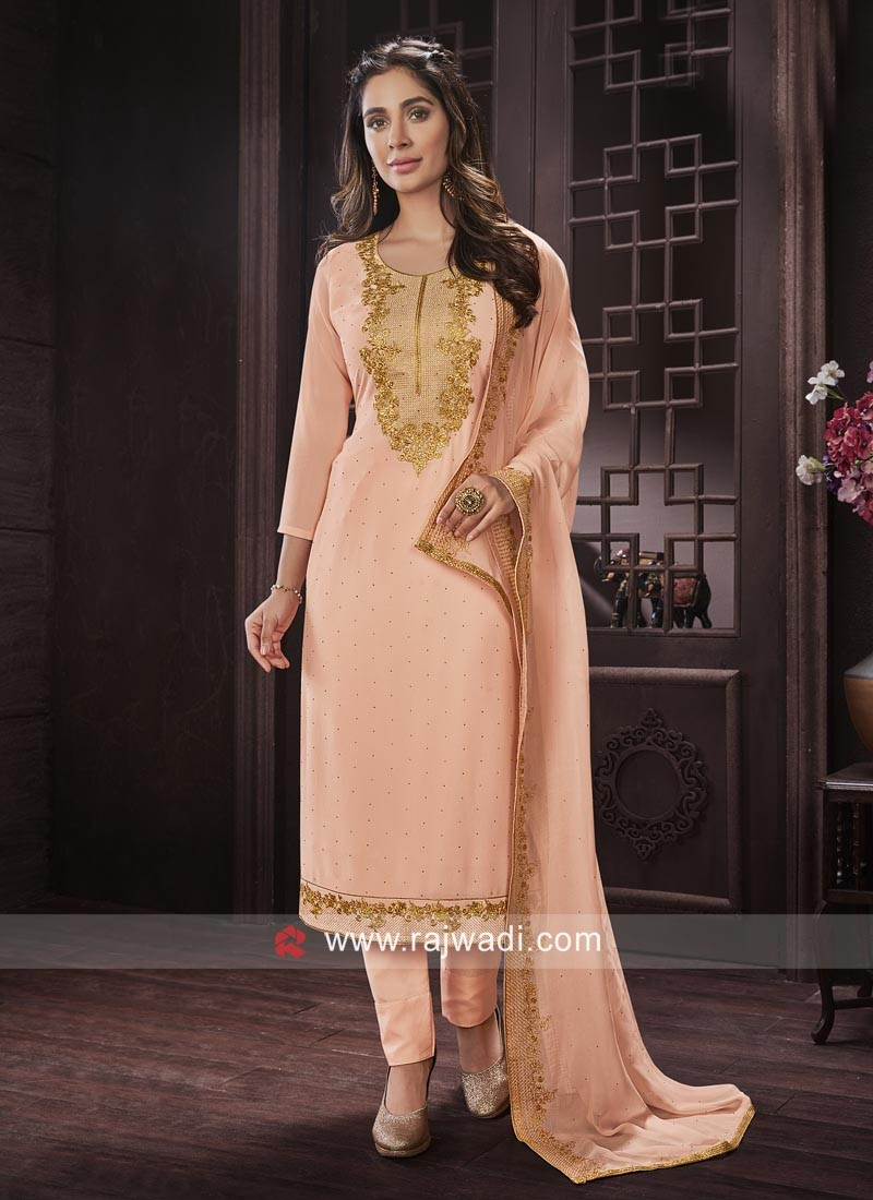 Semi Stitched Stone and Resham Work Salwar Suit