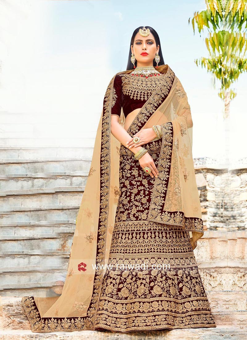 Semi Stitched Velvet Heavy Lehenga Set