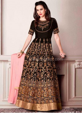 Semi Stitched Zari Embroidered Dress Material