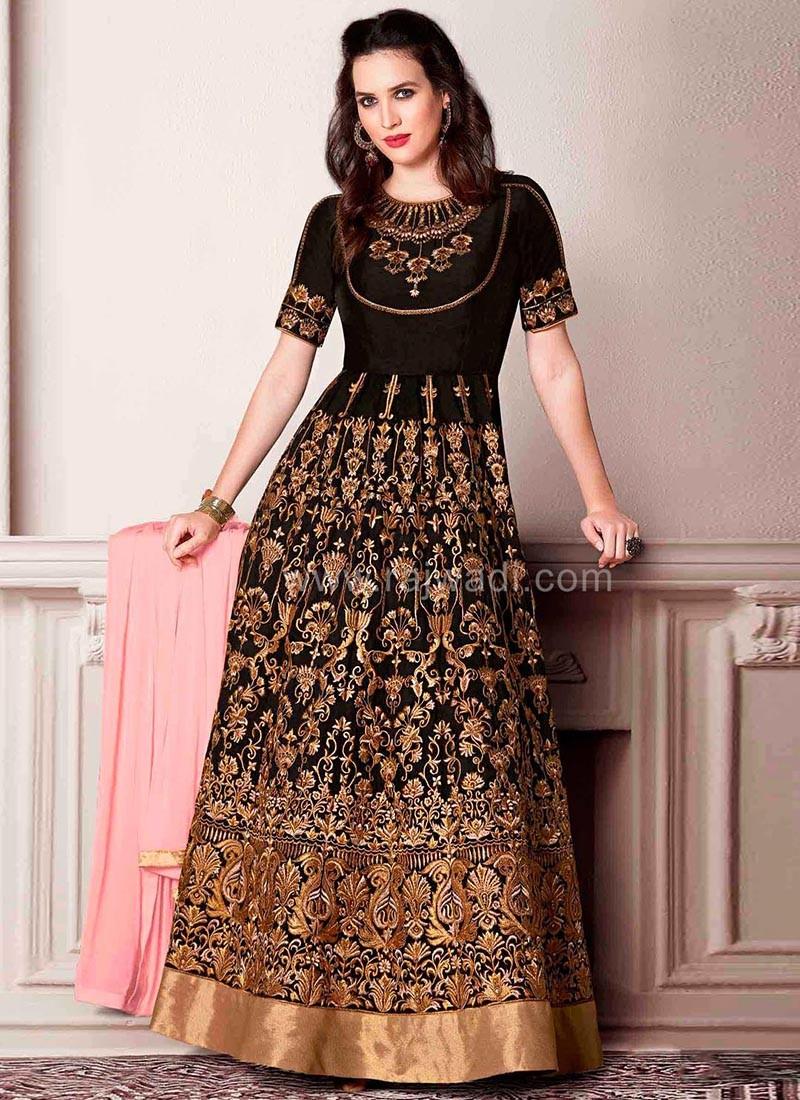 Semi Stitched Zari Embroidered Dress Material