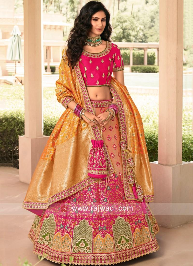 Sensible Orange and Pink Embroidered Banarasi Silk A Line Lehenga Choli