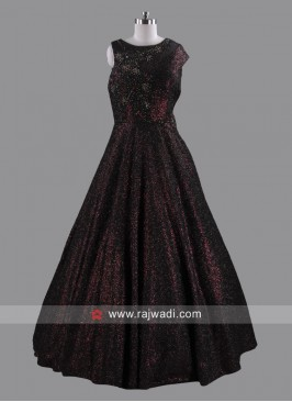 Sequins and Diamond Work Party Gown