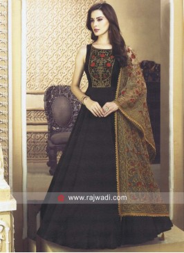 Sequins Work Anarkali Suit in Bottle Green