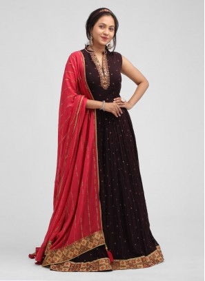 Sequins Work Anarkali Suit In Wine Color