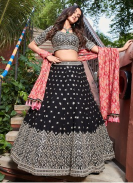 Sequins Work Choli Suit In Balck And Red Color
