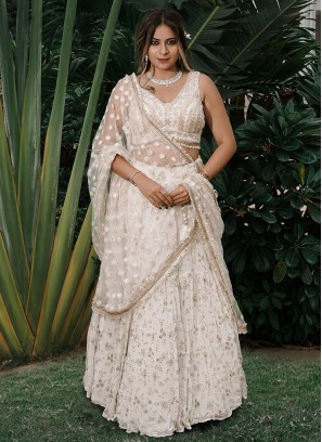 Sequins Work Choli Suit In Cream Color