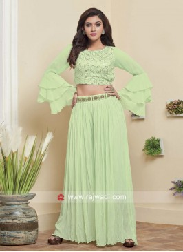 Sequins Work Crop Top Palazzo Set in Green