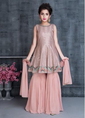 Sequins Work Gharara Suit In Peach