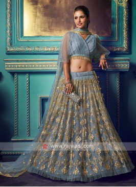 Sequins Work Grey Lehenga Choli