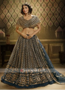 Sequins Work Lehenga Choli In Rama Green