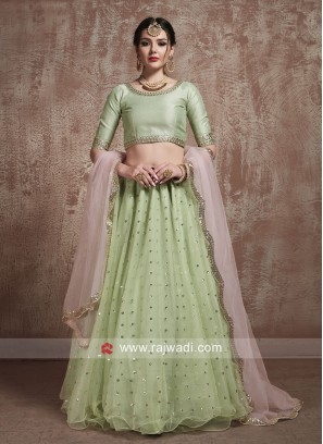 Sequins Work Lehenga Set in Pista Green