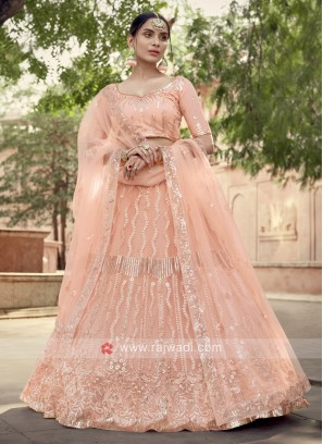 Wonderful Light Peach Color Net Lehenga Choli